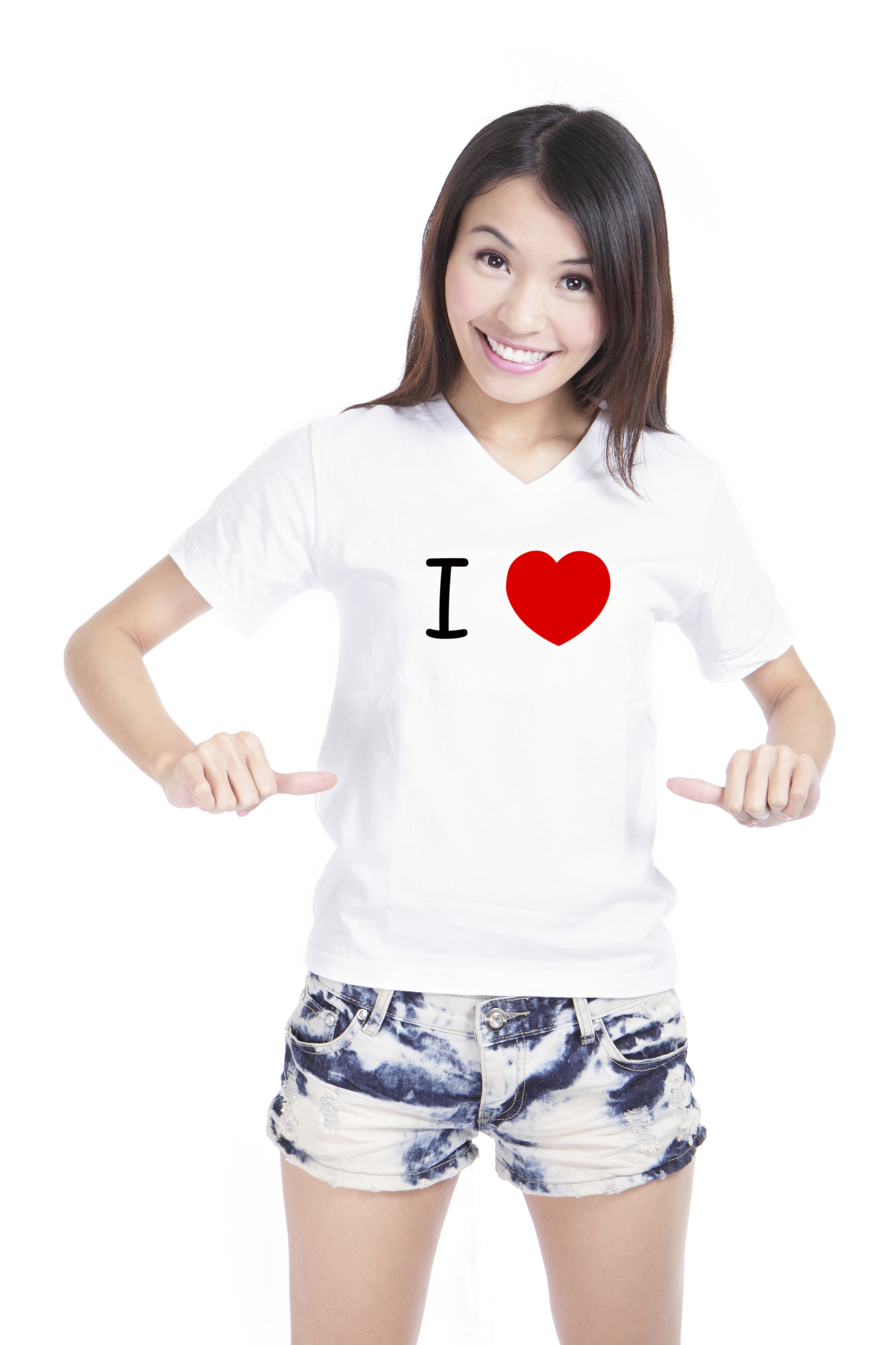 Girl Happy show white T-Shirt with Text (I love)